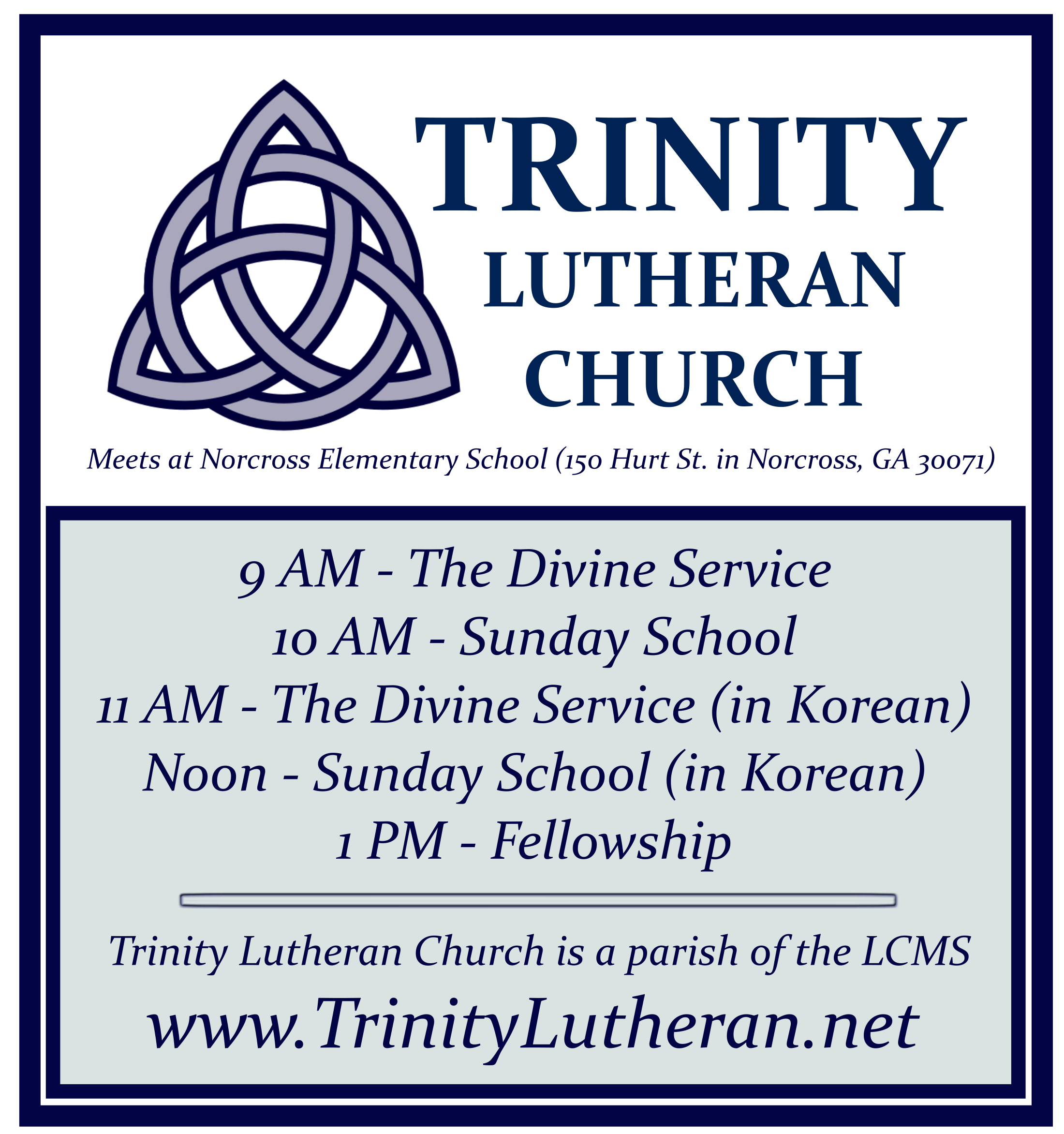 Holy Trinity Lutheran Logo with Schedule