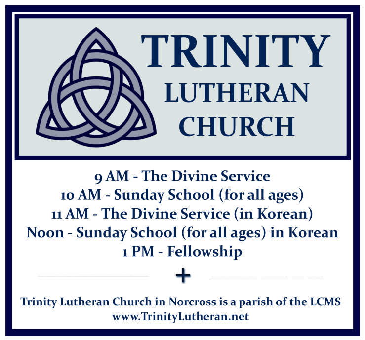 Trinity Lutheran Norcross logo with schedule